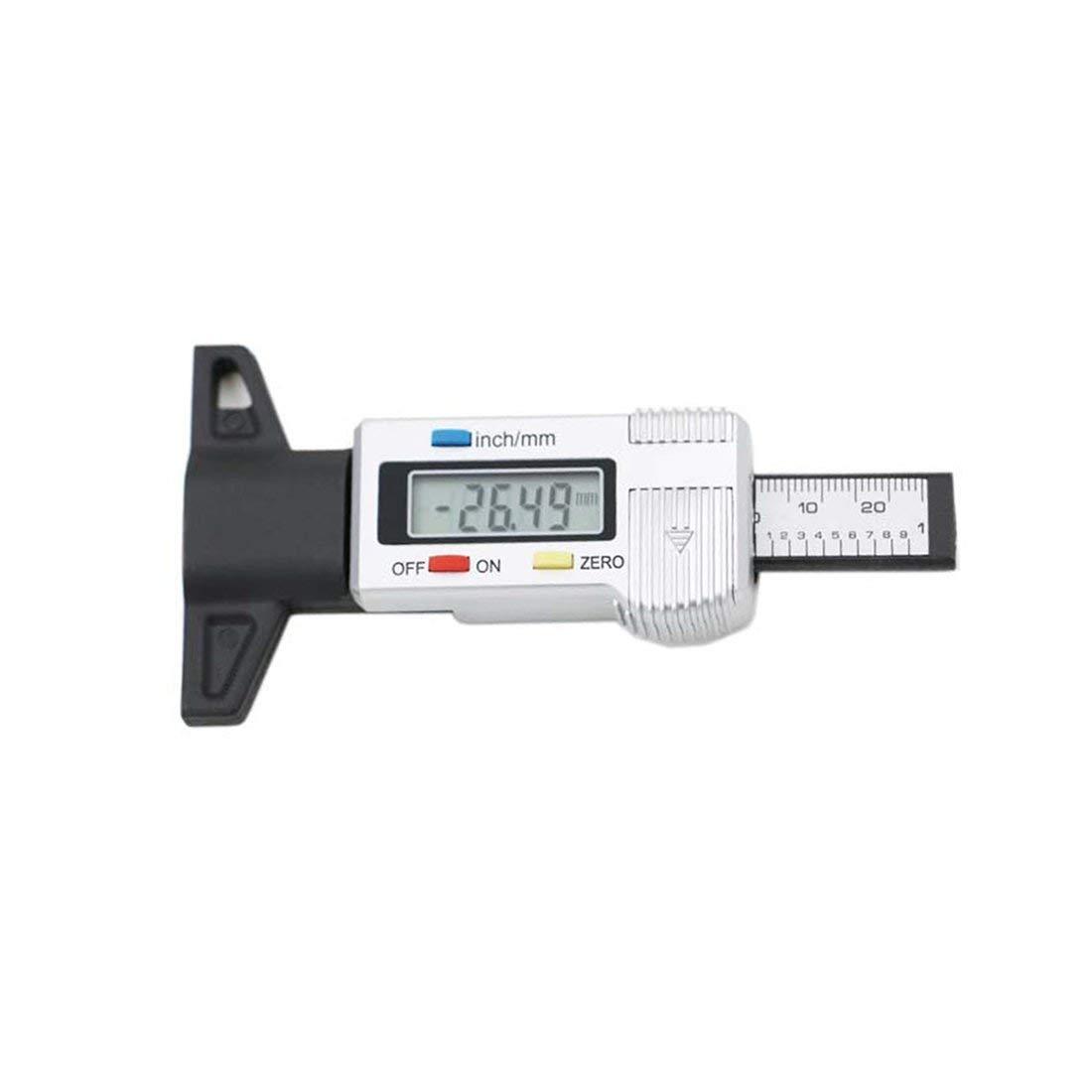 Alta precisione 1.14 pollici display LCD digitale misuratore di pressione dei pneumatici misuratore di profondità del battistrada monitor di pressione dei pneumatici per auto - nero e argento Formulaone
