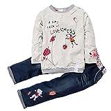 ShangYi Girl's Long Sleeve Cartoon Pullover Outfit Set Shirt+Jeans Pants 85/90CM