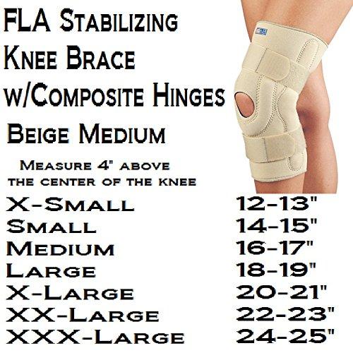 FLA 37-107MDBEG Neoprene Stabilizing Knee Brace With Composite Hinges, Beige, Medium (Brace Knee Neoprene Stabilizing)