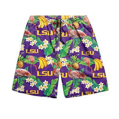 NCAA LSU Tigers Mens Floral Shortsfloral Shorts, Team Color, -