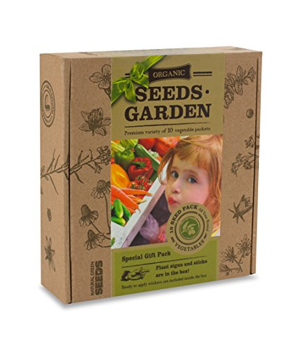 ORGANIC SEEDS GARDEN - GIFT PACK - 10 VEGETABLE Packets with Labels by VREMI TM