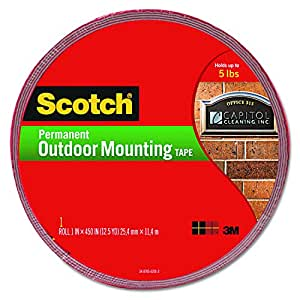 Exterior Weather-Resistant Double-Sided Tape, 1 x 450, Gray w/Red Liner