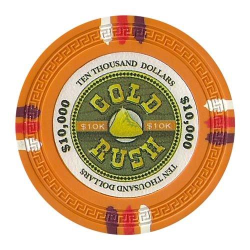 Claysmith Gaming $10,000 Clay Composite 13.5 Gram Gold Rush Poker Chips - Sleeve of 25 (Pharaohs Poker Casino Paulson Chips)