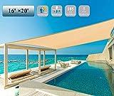 Garden EXPERT 16'x20' Sun Shade Sail Sand Large