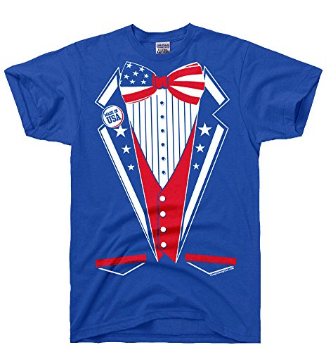 DirtyRagz Men's USA America Merica Tux Tuxedo Suit Costume T Shirt 2XL Royal Blue -