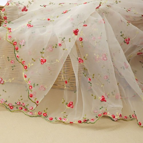Iris Tech Premium Rose Embroidered Organza Lace Floral