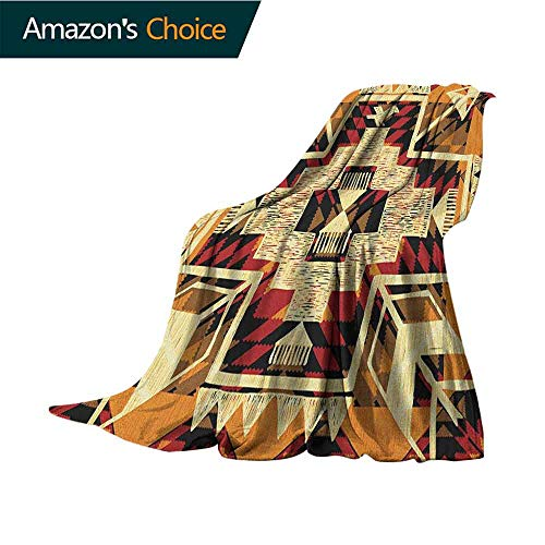 Arrow Flannel Blanket,Native American Inspired Retro Aztec Pattern Mod Graphic Design Boho Artwork Microfiber All Season Blanket for Bed or Couch Multicolor,70
