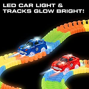 "BLACK FRIDAY DEAL! Toy Car Glow Race Track - 360-Pc. ""Snap N' Glow Trax"" Flexible Glow in the Dark Race Tracks with 2 Electric Light Up Toy Cars"