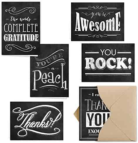 Retro Chalkboard Thank You Note Card Assortment Pack - Set of 36 cards - 6 designs blank inside - with Kraft envelopes (53874)