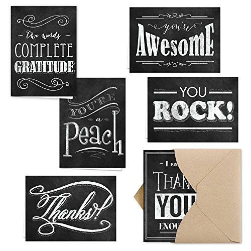 (Retro Chalkboard Thank You Note Card Assortment Pack - Set of 36 cards - 6 designs blank inside - with Kraft envelopes)