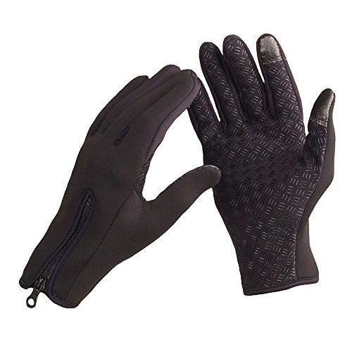 1 Pair Windstopper Snowboard Skiing Gloves Windproof Winter Gloves Thermal Warm Touch Screen Gloves - Black - Heads Big Best For Oakleys