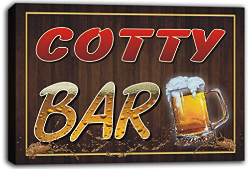 scw3-073194 COTTY Name Home Bar Pub Beer Mugs Cheers Stretched Canvas Print Sign