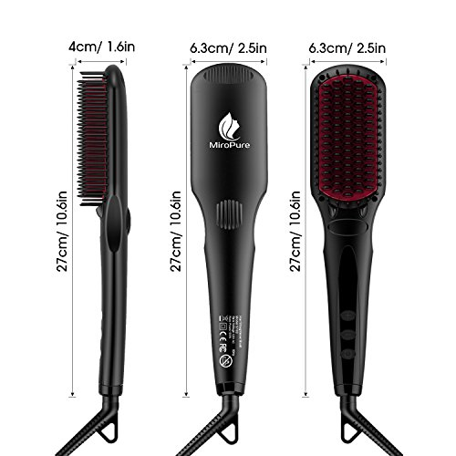 Enhanced Hair Straightener Brush by MiroPure, 2-in-1 Ionic Straightening Brush with Anti-Scald Feature, Auto Temperature Lock and Auto-off Function (Black) by MiroPure (Image #7)