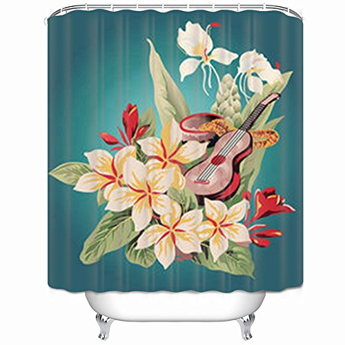 GisRuRu Decor Shower Curtains Inspired By Vintage Hawaiian Aloha Shirt Flower Design Design Polyester Fabric Waterproof 66 x 72 Inches Bath Bathroom - Teal Shirt Egyptian