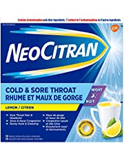 NeoCitran Cold and Sore Throat for Nighttime Relief, Lemon, 10 Count