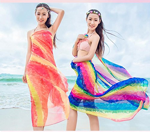 Tuk789 VIP 200140cm New Rainbow Printed Big Size Pareos Summer Beach Cover Up Sunscreen Silk Scarf Long Chiffon Scarf Women Designer (Cupcake Costume Pattern)