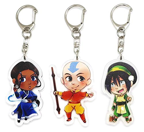 EBTY-Dreams Inc. - Set of 3 Avatar The Last Airbender Anime Acrylic Keychain Aang, Katara, Toph Beifong (Avatar The Last Airbender Katara And Toph)