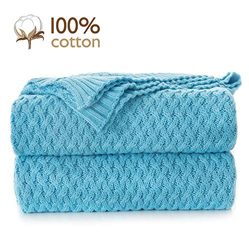 Pumpkin Town Blue 100% Cotton Cable Knit Summer Throw Blanket for Soft Sofa, Chair, Couch, Picnic, Camping, Beach, Home Decorative Knitted Blanket, 50