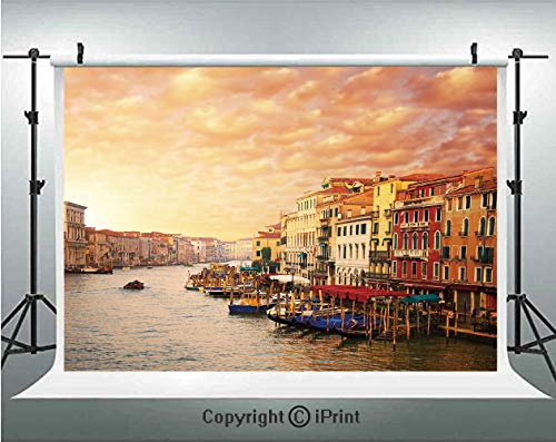 (Scenery Decor Photography Backdrops Venezia Italian Decor Landscape with Old Houses Gondollas and Spikes Image,Birthday Party Background Customized Microfiber Photo Studio Props,5x3ft,Multicolor)