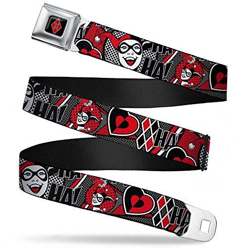 Harley Quinn Poses/HAHAHA!/Diamonds/Hearts Halftone White/Black/Red Webbing - Seatbelt Belt (Heart Cool Belt Buckle)
