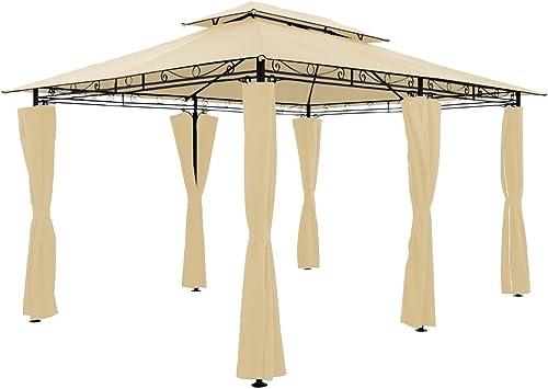 4 x 3 m - Metal Gazebo toldo Canopy - Beige pavillón carpa Marquee Rectangular: Amazon.es: Jardín