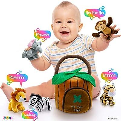 Play22 Plush Talking Stuffed Animals Jungle Set - Plush Toys Set with Carrier for Kids Babies & Toddlers - 6 Piece Set Baby Stuffed Animals Includes Stuffed Bear, Elephant, Tiger, Lion, Zebra, Monkey: Home & Kitchen