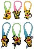 Winnie the Pooh Luminescent Colorful Silicone Snap Lock Zipper Pulls 6 Pcs Set #1
