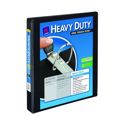 - Avery Nonstick Heavy-Duty EZD Reference View Binder, 1 Inch, Black (79699)