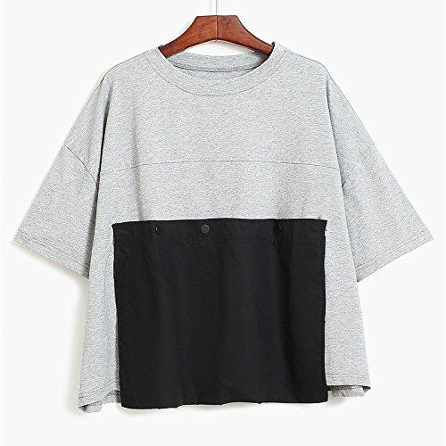 Xmy Coin Grande pochette t-shirt à manches courtes femme détendue et les étudiants corps polyvalent shirt gros chantiers de l'été code T-shirt, noir