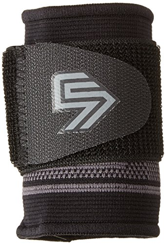 Shock Doctor Compression Knit Wrist Sleeve with Strap, Black/Grey, X- Large