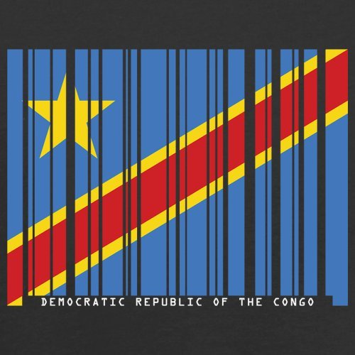 Democratic Republic of the Congo / Demokratische Republik Kongo Barcode Flagge - Herren T-Shirt - Schwarz - XL