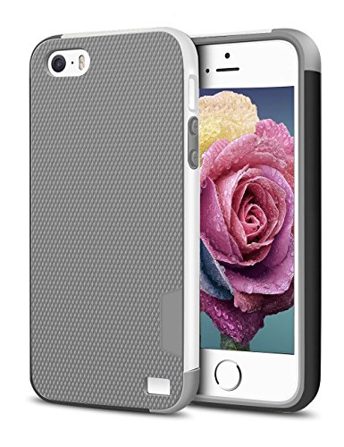 iPhone 5/5S SE Case, EXSEK Hybrid Impact Ultra Slim 3 Color Shockproof Case [Anti-Slip] [Extra Front Raised Lip] Scratch Resistant Soft Gel Hard PC Bumper Rugged Case for iPhone 5/5S (Grey)
