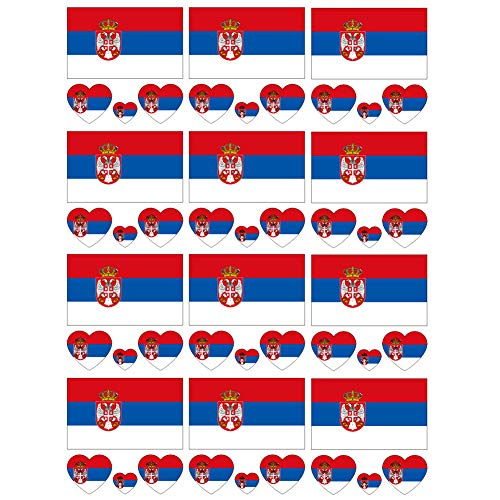 (SpringPear 12x Temporary Tattoos of Serbia Flag for International Competitions Olympic Games World Cup Waterproof Flags Tattoo Sticker Fan Set (12)