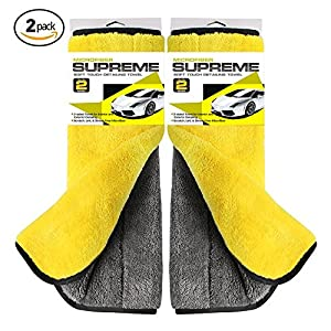 800GSM Super Thick Microfiber Car Cleaning Cloth Detailing Towel (Yellow&Grey-2PCS)