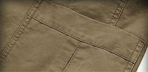 hZcx la moda Hombres Algodón Lavado Casual Blazer botón Up chaquetas con bolsillo Verde caqui Large: Amazon.es: Ropa y accesorios