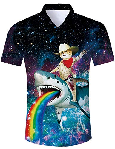 Men's Hawaiian Shirt Galaxy Cat Riding Rainbow Shark Print Tropical Beach Aloha Shirt Casual Button Down Short Sleeve Dress Shirt
