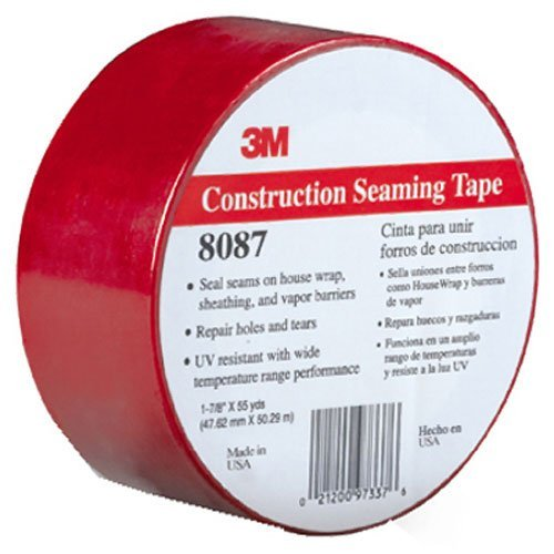 3M Construction Seaming Tape 8087 Red, 48 mm x 50 m, 1 7/8 in x 55 yd (Pack of 1) by 3M