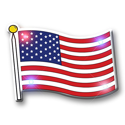Light Up Patriotic American Flag Flashing Blinking LED Body Light Lapel Pins (25-Pack)