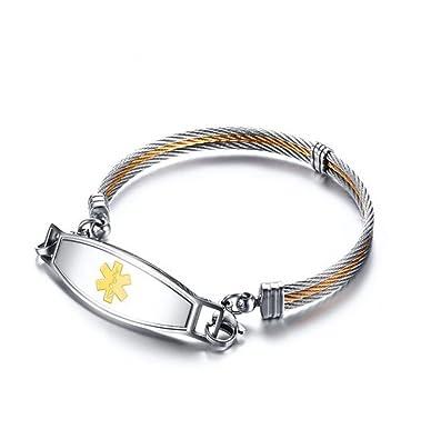 346165e4639 Gudeke Battu Signes médicaux Weiya Marque Bracelet pour Femme Bracelets  Bracelet en Cuir