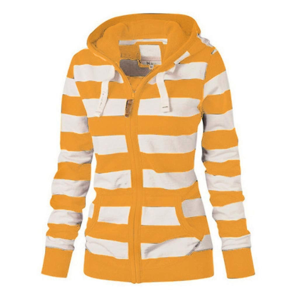 OMMR Women Ladies Zipper Tops Hoodie Hooded Sweatshirt Coat Jacket Casual Striped Sweater Jumper Cardigan