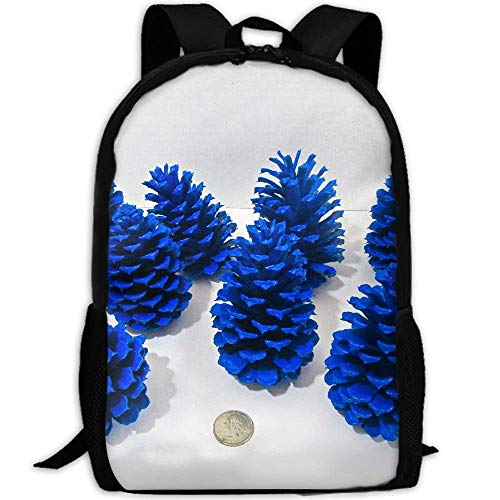 Blue Pine Cones Adult Travel Backpack School Casual Daypack Oxford Outdoor Laptop Bag College Computer Shoulder ()