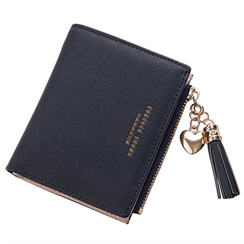 Belsmi Rfid Blocking Women PU Leather Wallet Lady Clutch Purse Zipper Pocket Card Holder Organizer Lightweight Bifold Wallets (Black)
