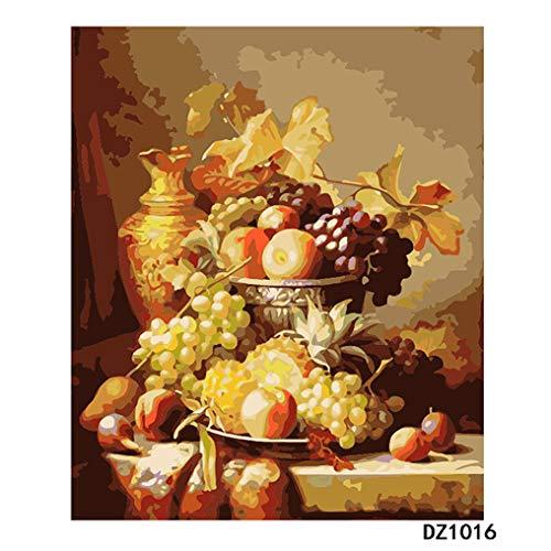 LovetheFamily 数字油絵 数字キット塗り絵 手塗り DIY絵 デジタル油絵 静物フルーツプレート 40x50cm ホーム オフィス装飾の商品画像