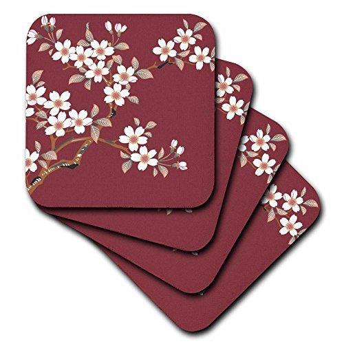 3dRose LLC Japanese White Flowers on Maroon Coaster, Soft, Set of 8 ()