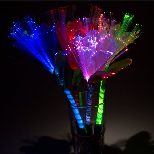 Rainbow LED Fiber-Optic Flower, set of 2