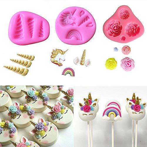 Mini Unicorn Mold Unicorn Horn Ears Flower and Rainbow Cupcake Topper Fondant Chocolate Mold( Set of 3) by A&J