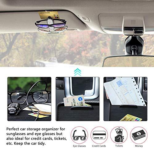 Bling Bling Diamond Sunglasses Eyeglasses Mount with Ticket Card Clip finefun Glasses Holders for Car Sun Visor 2 Pack White