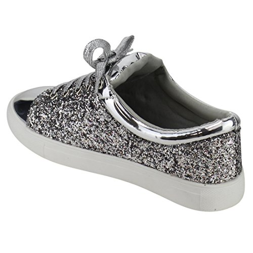 up Glitter Lace Women's FP37 Sneakers Silver Fashion Street Metallic Forever UwCvqx