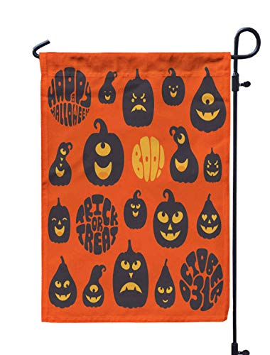 Shorping Farm Garden Flag, 12x18Inch Set Black Carved and Lettering Isolated on Orange Background Elements for Holiday and Seasonal Double-Sided Printing Yards Flags -