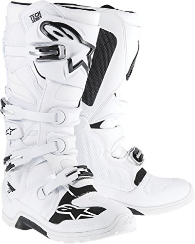 NEW ALPINESTARS TECH-7 ENDURO MOTOCROSS/OFF-ROAD ADULT MICROFIBER UPPER BOOTS, WHITE/BLACK, (Discount Motorcycle Boots)